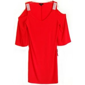 MSK Cold Shoulder Dress Rhinestone Red Medium M